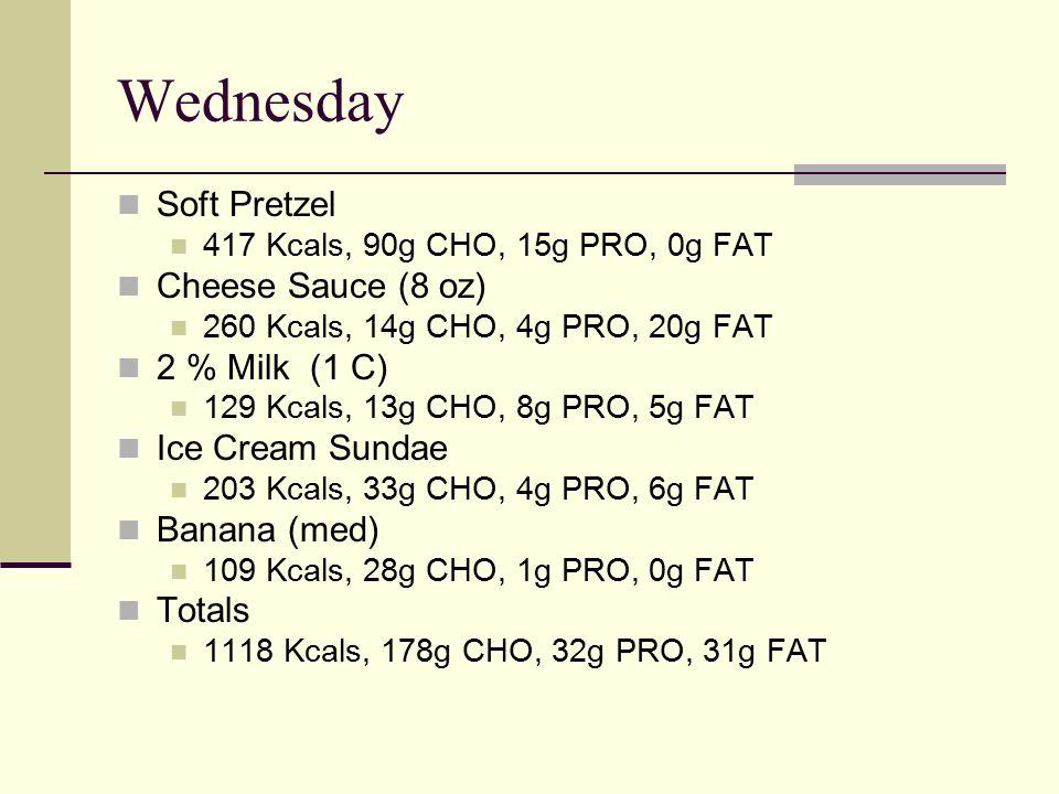 Wednesday Soft Pretzel 417 Kcals, 90g CHO, 15g PRO, 0g FAT Cheese Sauce (8 oz) 260 Kcals, 14g CHO, 4g PRO, 20g FAT 2 % Milk (1 C) 129 Kcals, 13g CHO, 8g PRO, 5g FAT Ice Cream Sundae 203 Kcals, 33g CHO, 4g PRO, 6g FAT Banana (med) 109 Kcals, 28g CHO, 1g PRO, 0g FAT Totals 1118 Kcals, 178g CHO, 32g PRO, 31g FAT