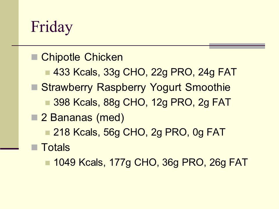 Friday Chipotle Chicken 433 Kcals, 33g CHO, 22g PRO, 24g FAT Strawberry Raspberry Yogurt Smoothie 398 Kcals, 88g CHO, 12g PRO, 2g FAT 2 Bananas (med) 218 Kcals, 56g CHO, 2g PRO, 0g FAT Totals 1049 Kcals, 177g CHO, 36g PRO, 26g FAT