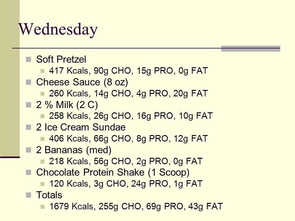 Wednesday Soft Pretzel 417 Kcals, 90g CHO, 15g PRO, 0g FAT Cheese Sauce (8 oz) 260 Kcals, 14g CHO, 4g PRO, 20g FAT 2 % Milk (2 C) 258 Kcals, 26g CHO, 16g PRO, 10g FAT 2 Ice Cream Sundae 406 Kcals, 66g CHO, 8g PRO, 12g FAT 2 Bananas (med) 218 Kcals, 56g CHO, 2g PRO, 0g FAT Chocolate Protein Shake (1 Scoop) 120 Kcals, 3g CHO, 24g PRO, 1g FAT Totals 1679 Kcals, 255g CHO, 69g PRO, 43g FAT