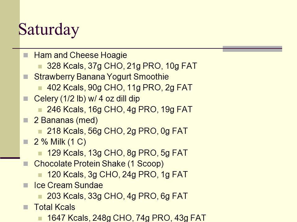 Saturday Ham and Cheese Hoagie 328 Kcals, 37g CHO, 21g PRO, 10g FAT Strawberry Banana Yogurt Smoothie 402 Kcals, 90g CHO, 11g PRO, 2g FAT Celery (1/2 lb) w/ 4 oz dill dip 246 Kcals, 16g CHO, 4g PRO, 19g FAT 2 Bananas (med) 218 Kcals, 56g CHO, 2g PRO, 0g FAT 2 % Milk (1 C) 129 Kcals, 13g CHO, 8g PRO, 5g FAT Chocolate Protein Shake (1 Scoop) 120 Kcals, 3g CHO, 24g PRO, 1g FAT Ice Cream Sundae 203 Kcals, 33g CHO, 4g PRO, 6g FAT Total Kcals 1647 Kcals, 248g CHO, 74g PRO, 43g FAT