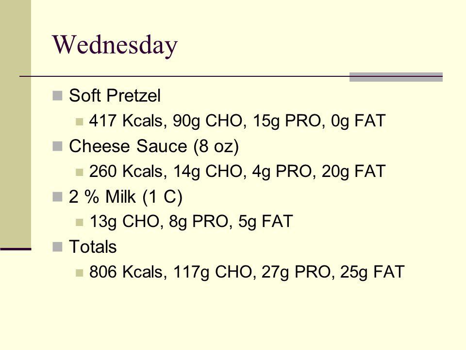 Wednesday Soft Pretzel 417 Kcals, 90g CHO, 15g PRO, 0g FAT Cheese Sauce (8 oz) 260 Kcals, 14g CHO, 4g PRO, 20g FAT 2 % Milk (1 C) 13g CHO, 8g PRO, 5g FAT Totals 806 Kcals, 117g CHO, 27g PRO, 25g FAT