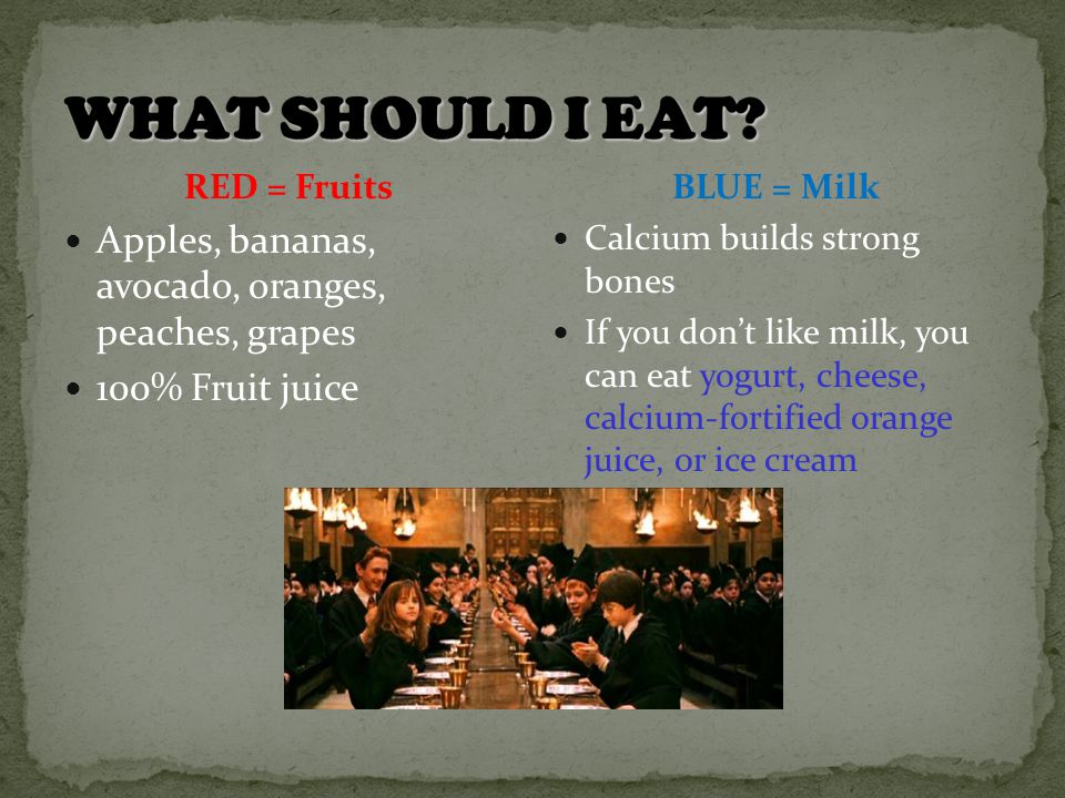 RED = Fruits Apples, bananas, avocado, oranges, peaches, grapes 100% Fruit juice BLUE = Milk Calcium builds strong bones If you don't like milk, you can eat yogurt, cheese, calcium-fortified orange juice, or ice cream