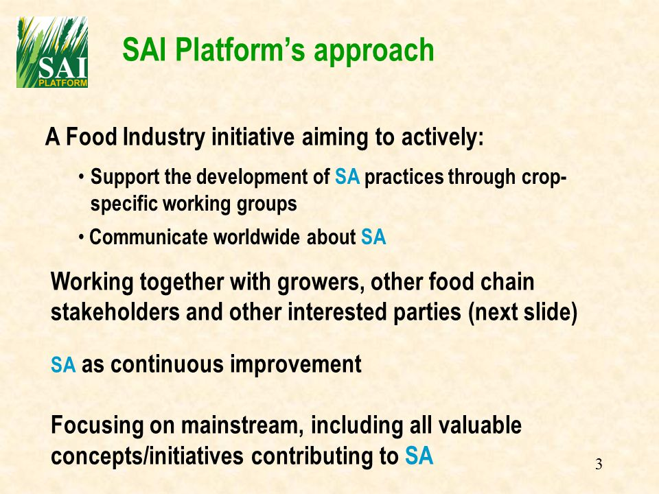 3 SAI Platform's approach Support the development of SA practices through crop- specific working groups Working together with growers, other food chain stakeholders and other interested parties (next slide) A Food Industry initiative aiming to actively: Communicate worldwide about SA SA as continuous improvement Focusing on mainstream, including all valuable concepts/initiatives contributing to SA