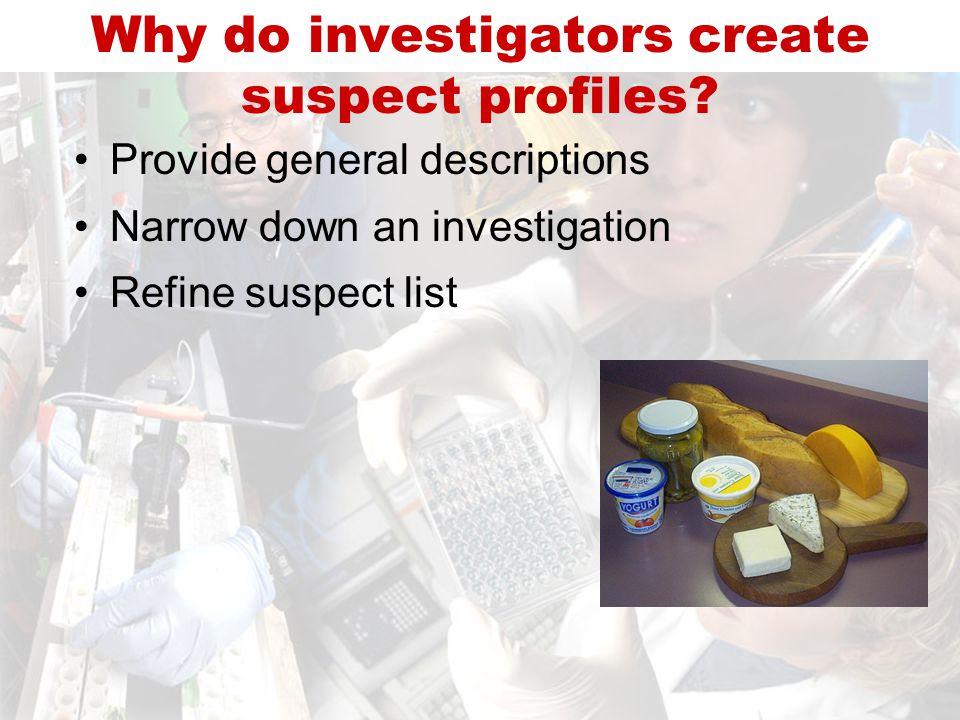Provide general descriptions Narrow down an investigation Refine suspect list Why do investigators create suspect profiles?
