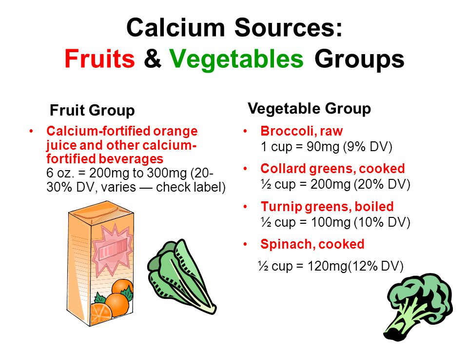 Calcium Sources: Fruits & Vegetables Groups Calcium-fortified orange juice and other calcium- fortified beverages 6 oz.