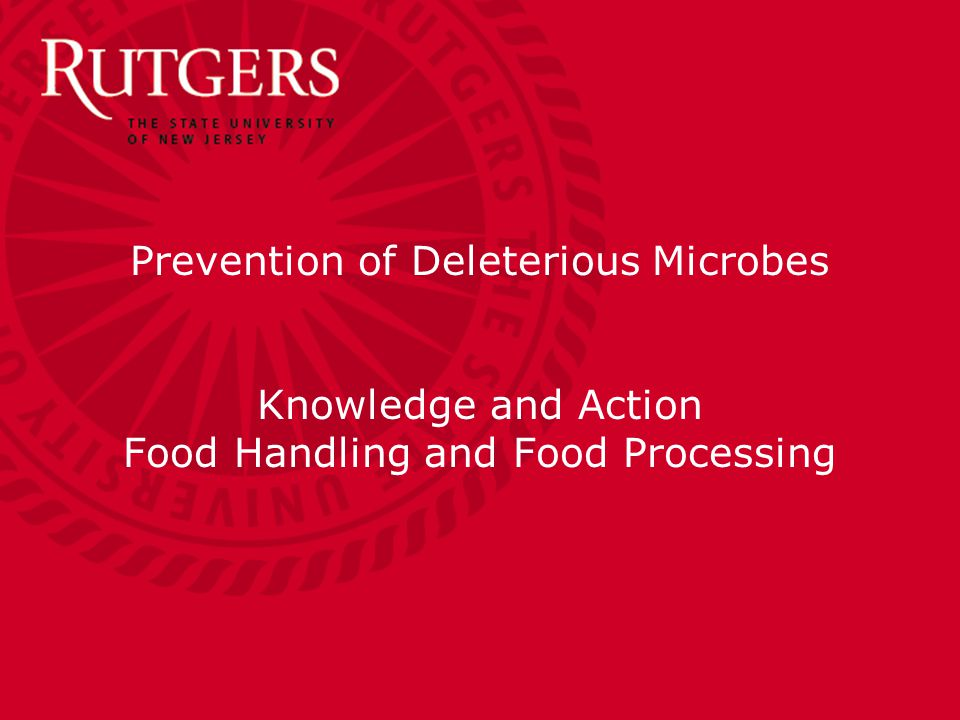 Department of Food Science Lecture 12: March 2, 2015 Prevention of Deleterious Microbes Knowledge and Action Food Handling and Food Processing