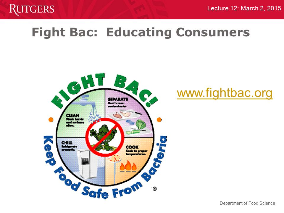 Department of Food Science Lecture 12: March 2, 2015 Fight Bac: Educating Consumers www.fightbac.org