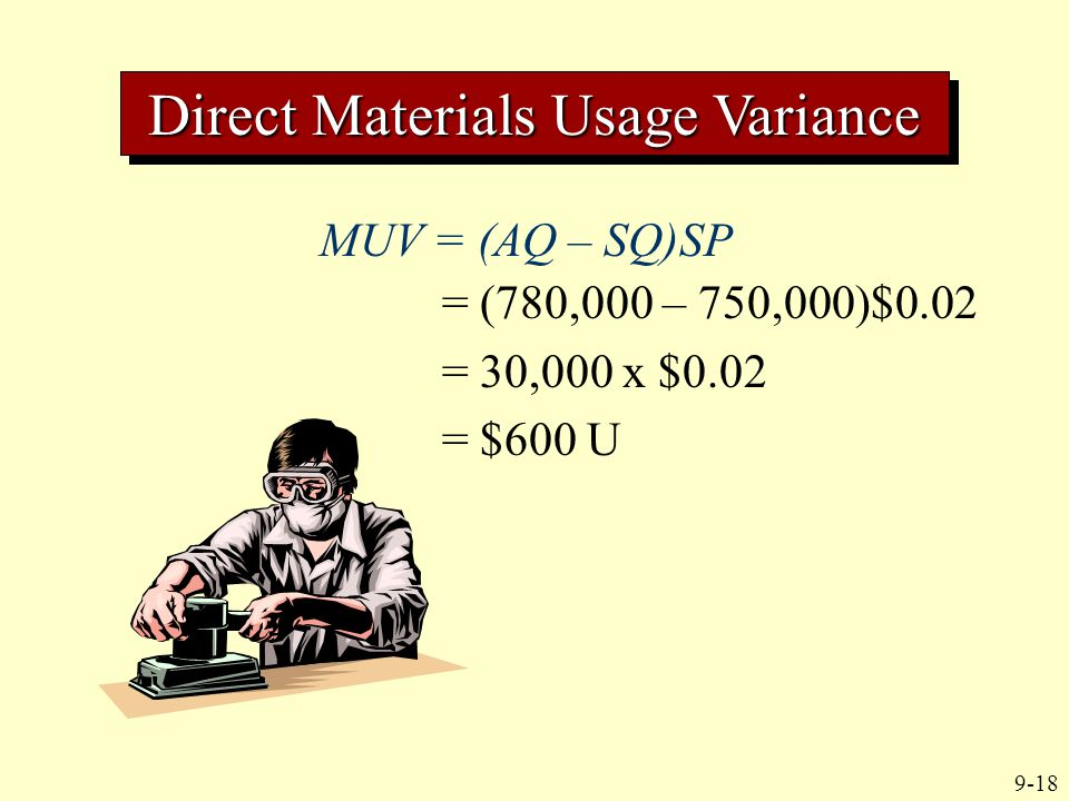 9-18 MUV = (AQ – SQ)SP = (780,000 – 750,000)$0.02 = 30,000 x $0.02 = $600 U Direct Materials Usage Variance