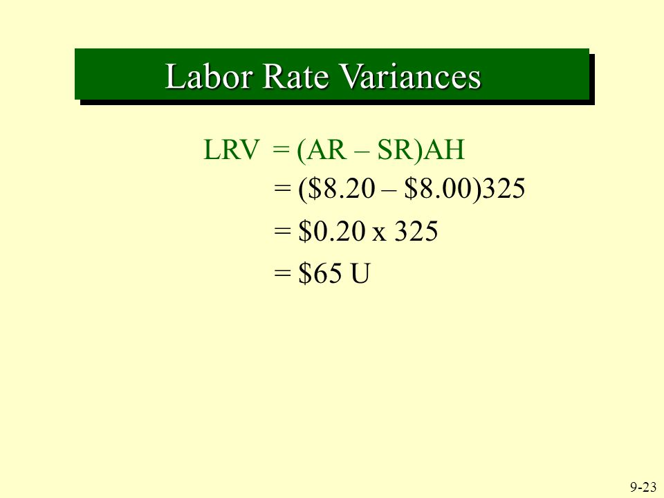 9-23 Labor Rate Variances Labor Rate Variances LRV = (AR – SR)AH = ($8.20 – $8.00)325 = $0.20 x 325 = $65 U