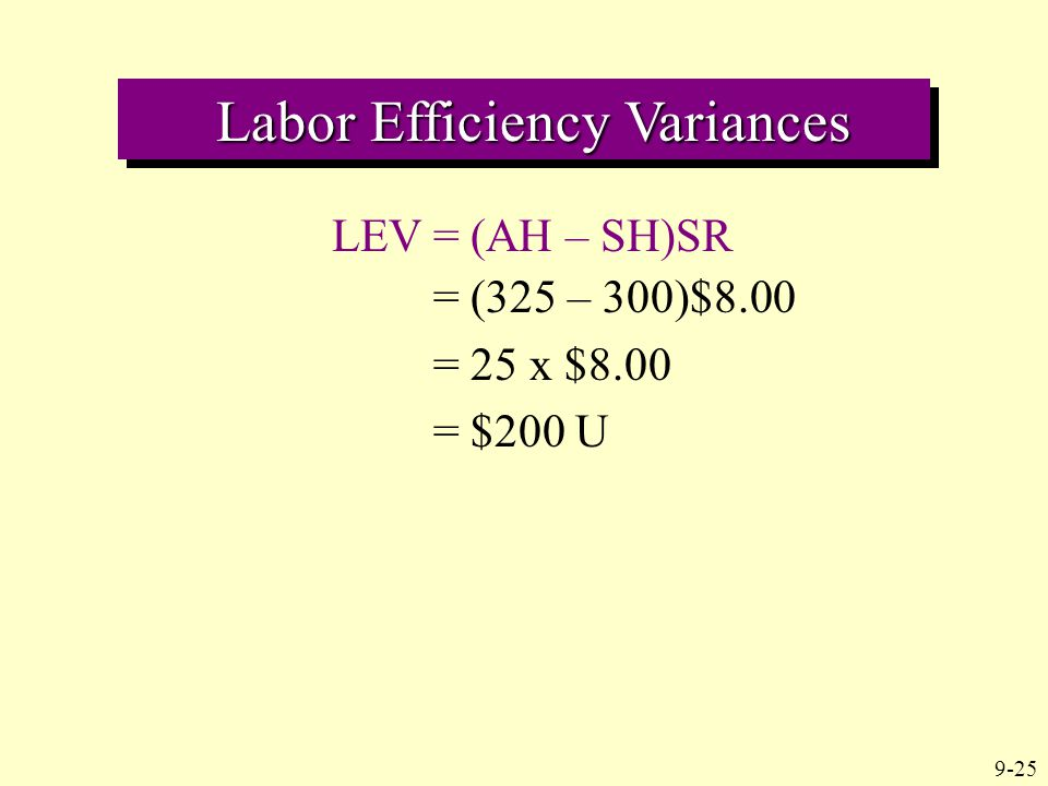 9-25 Labor Efficiency Variances Labor Efficiency Variances LEV = (AH – SH)SR = (325 – 300)$8.00 = 25 x $8.00 = $200 U