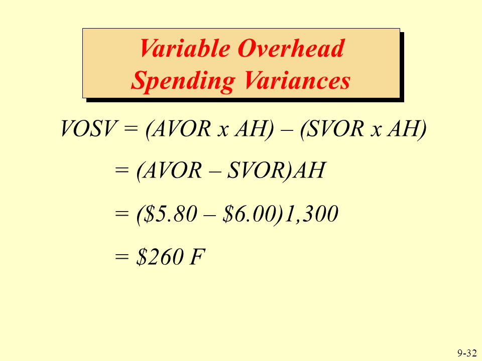 9-32 VOSV = (AVOR x AH) – (SVOR x AH) Variable Overhead Spending Variances = (AVOR – SVOR)AH = ($5.80 – $6.00)1,300 = $260 F