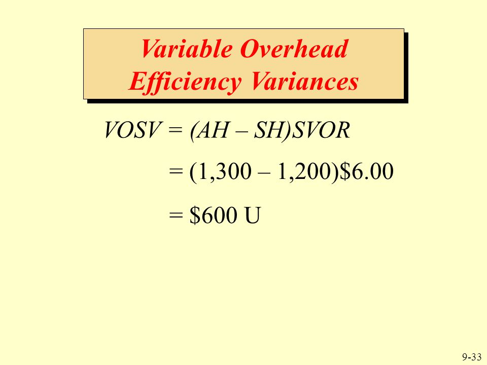 9-33 VOSV = (AH – SH)SVOR Variable Overhead Efficiency Variances = (1,300 – 1,200)$6.00 = $600 U