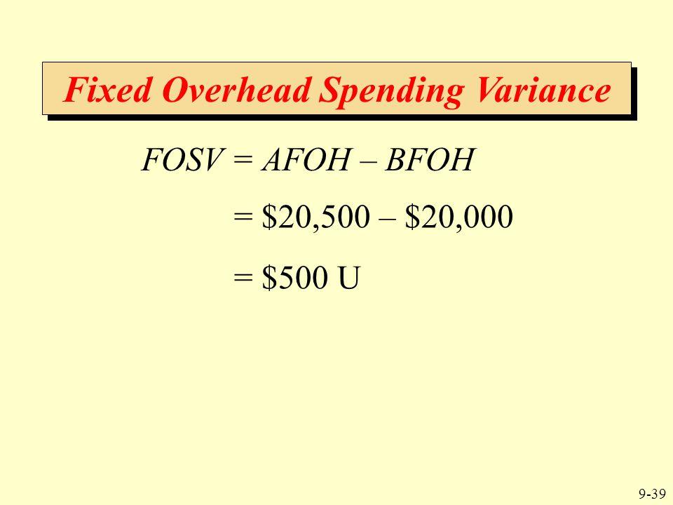 9-39 Fixed Overhead Spending Variance FOSV = AFOH – BFOH = $20,500 – $20,000 = $500 U