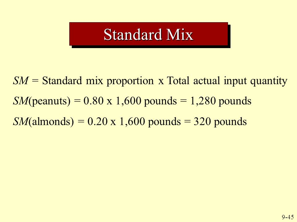 9-45 SM = Standard mix proportion x Total actual input quantity SM(peanuts) = 0.80 x 1,600 pounds = 1,280 pounds SM(almonds) = 0.20 x 1,600 pounds = 3
