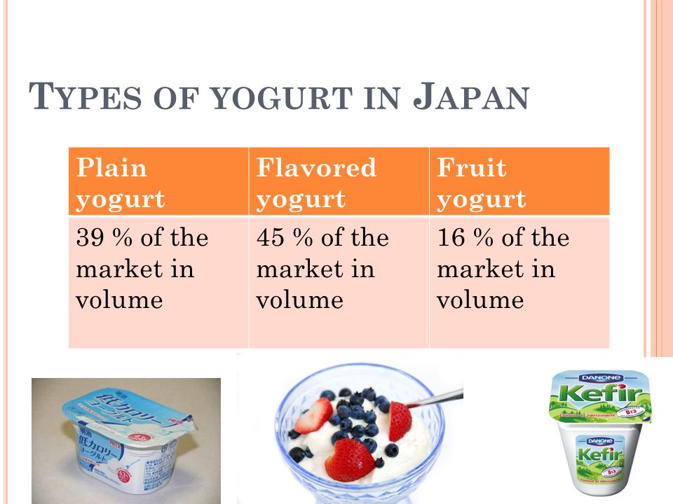 P RODUCT In 2001 plain yogurt 43 % in the total Japanese market.
