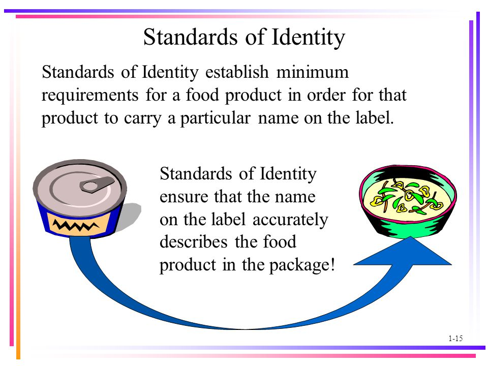 1-15 Standards of Identity Standards of Identity establish minimum requirements for a food product in order for that product to carry a particular name on the label.