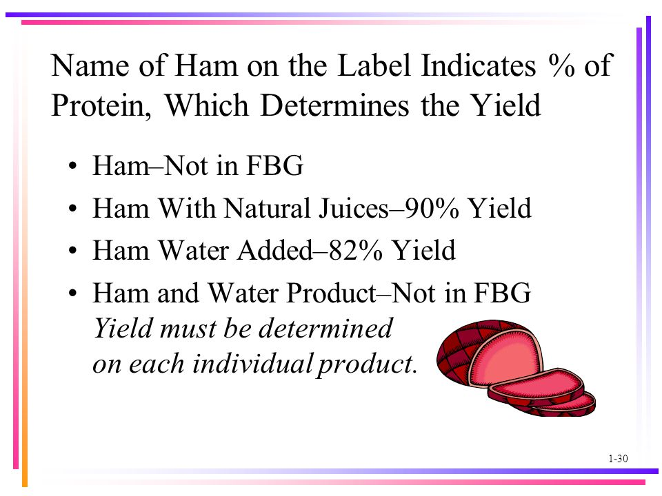 1-30 Name of Ham on the Label Indicates % of Protein, Which Determines the Yield Ham–Not in FBG Ham With Natural Juices–90% Yield Ham Water Added–82% Yield Ham and Water Product–Not in FBG Yield must be determined on each individual product.