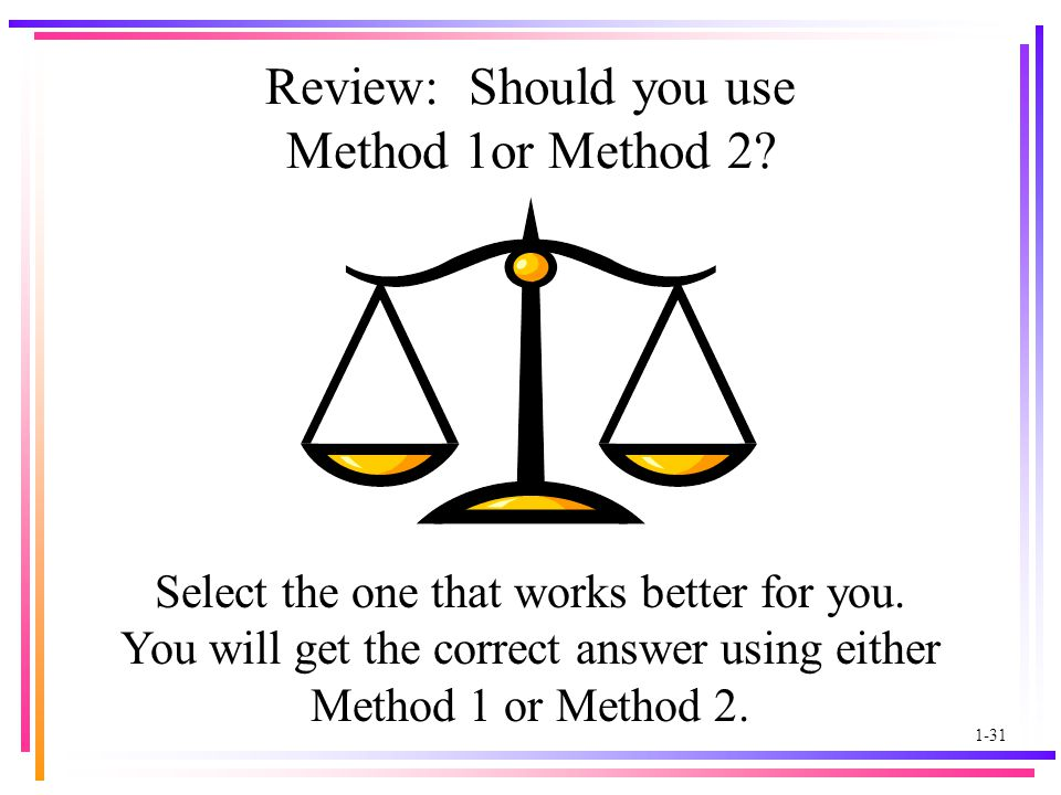 1-31 Review: Should you use Method 1or Method 2. Select the one that works better for you.