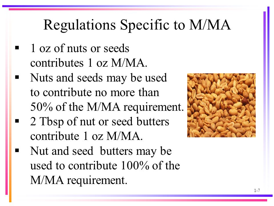 1-7 Regulations Specific to M/MA  1 oz of nuts or seeds contributes 1 oz M/MA.