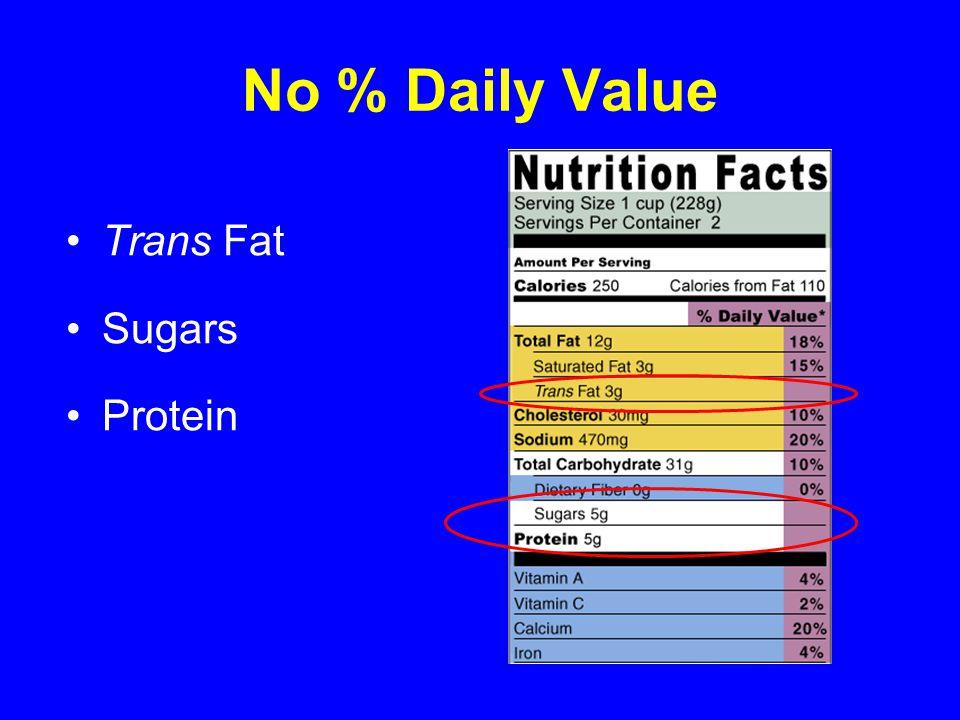 No % Daily Value Trans Fat Sugars Protein