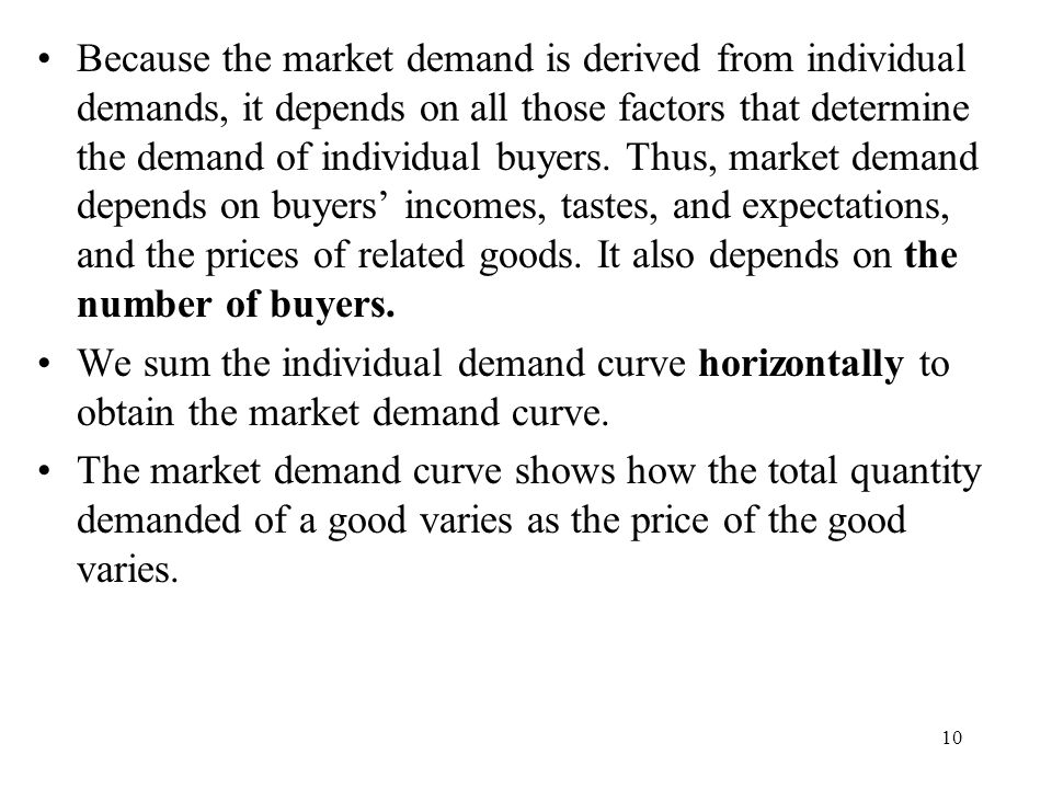 10 Because the market demand is derived from individual demands, it depends on all those factors that determine the demand of individual buyers.