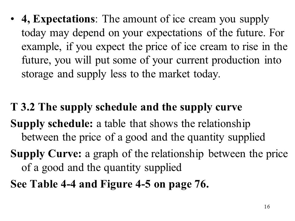 16 4, Expectations: The amount of ice cream you supply today may depend on your expectations of the future. For example, if you expect the price of ic