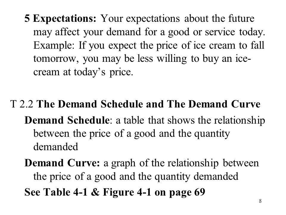 8 5 Expectations: Your expectations about the future may affect your demand for a good or service today.