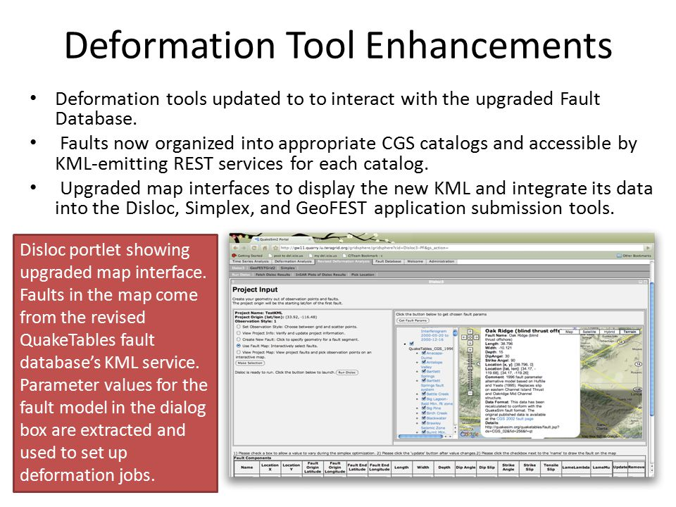 Deformation Tool Enhancements Deformation tools updated to to interact with the upgraded Fault Database. Faults now organized into appropriate CGS cat