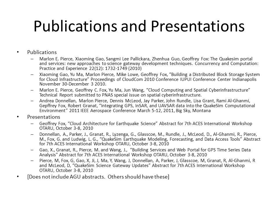 Publications and Presentations Publications – Marlon E.