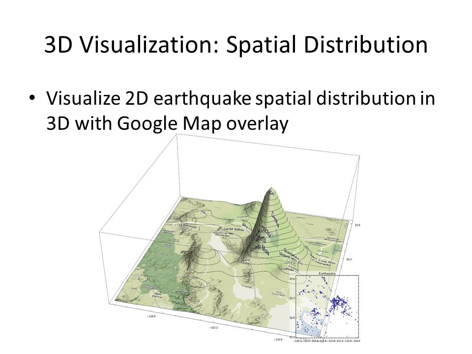 3D Visualization: Spatial Distribution Visualize 2D earthquake spatial distribution in 3D with Google Map overlay