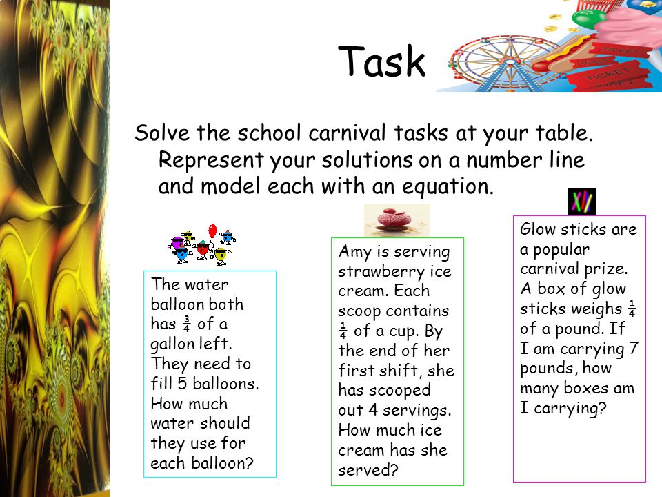 Task Solve the school carnival tasks at your table. Represent your solutions on a number line and model each with an equation. The water balloon both