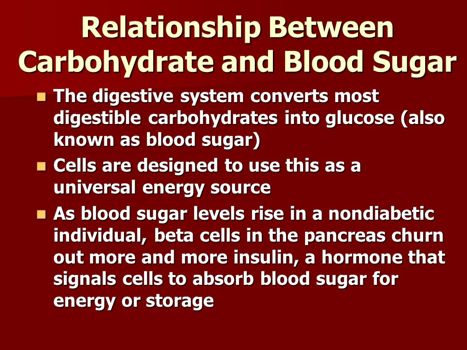 Relationship Between Carbohydrate and Blood Sugar The digestive system converts most digestible carbohydrates into glucose (also known as blood sugar)