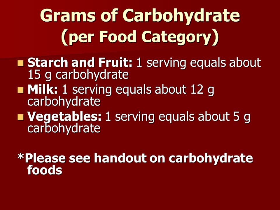 Grams of Carbohydrate ( per Food Category ) Starch and Fruit: 1 serving equals about 15 g carbohydrate Starch and Fruit: 1 serving equals about 15 g c