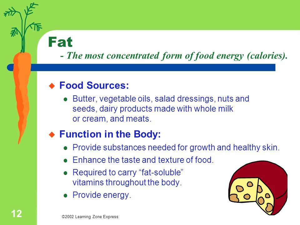 ©2002 Learning Zone Express 12 Fat - The most concentrated form of food energy (calories).  Food Sources: Butter, vegetable oils, salad dressings, nu