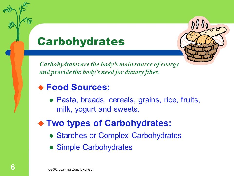 ©2002 Learning Zone Express 6 Carbohydrates  Food Sources: Pasta, breads, cereals, grains, rice, fruits, milk, yogurt and sweets.  Two types of Carb
