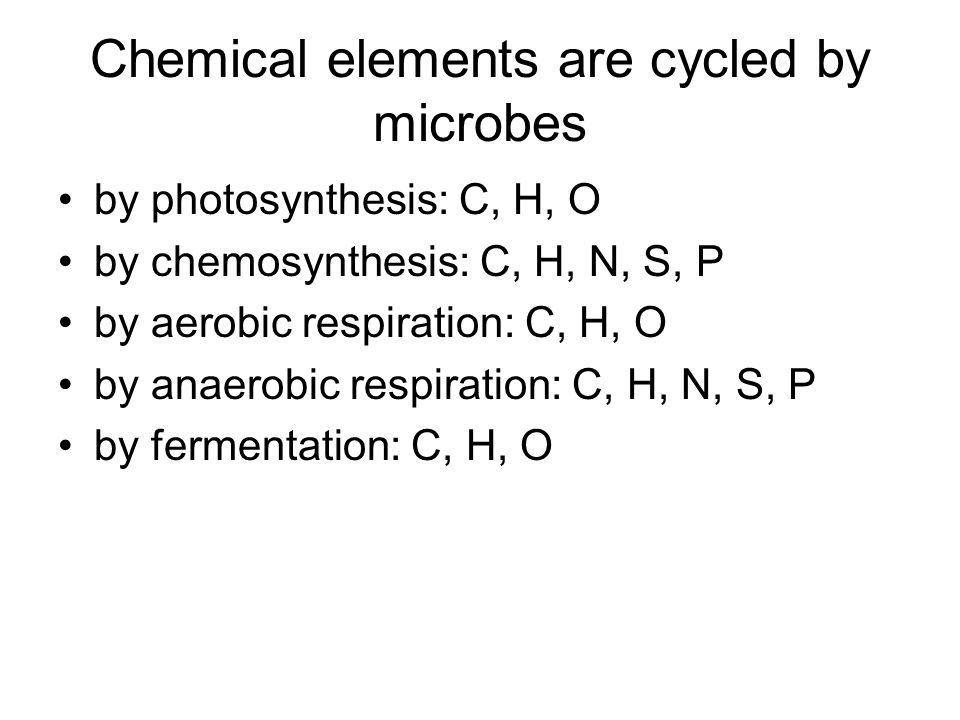 Chemical elements are cycled by microbes by photosynthesis: C, H, O by chemosynthesis: C, H, N, S, P by aerobic respiration: C, H, O by anaerobic respiration: C, H, N, S, P by fermentation: C, H, O