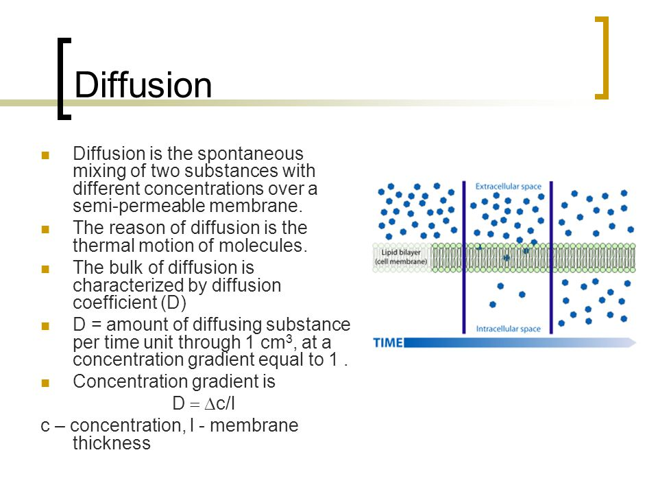 Diffusion Diffusion is the spontaneous mixing of two substances with different concentrations over a semi-permeable membrane.