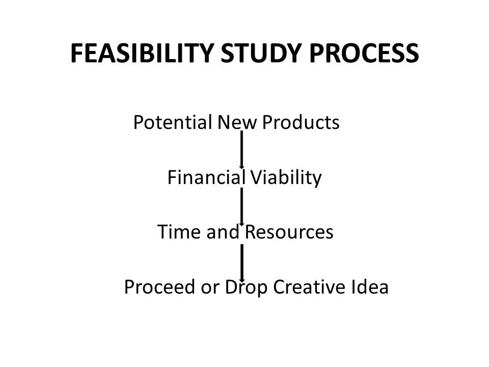FEASIBILITY STUDY PROCESS Potential New Products Financial Viability Time and Resources Proceed or Drop Creative Idea