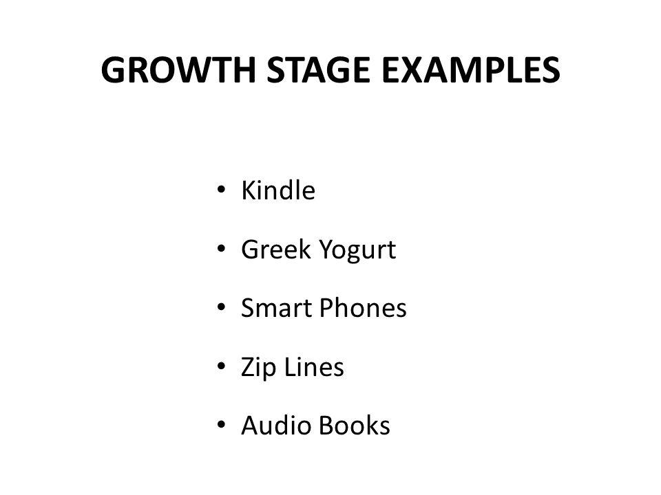 GROWTH STAGE EXAMPLES Kindle Greek Yogurt Smart Phones Zip Lines Audio Books
