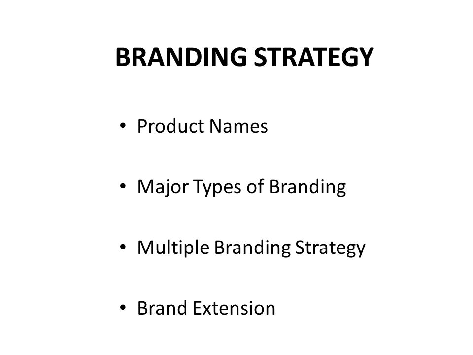 BRANDING STRATEGY Product Names Major Types of Branding Multiple Branding Strategy Brand Extension