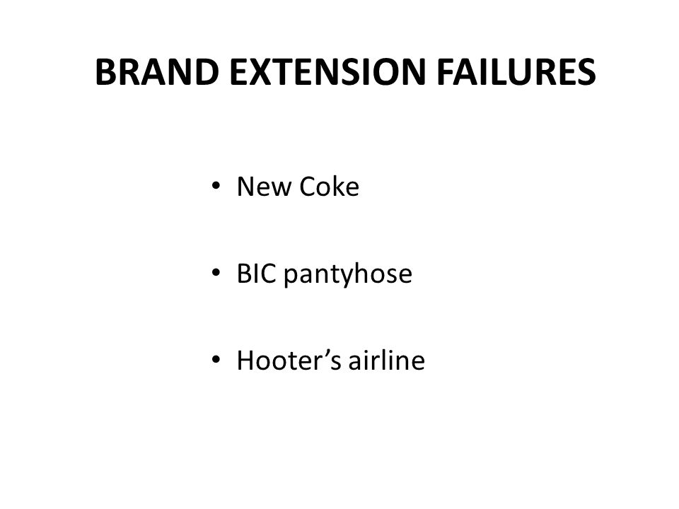 BRAND EXTENSION FAILURES New Coke BIC pantyhose Hooter's airline
