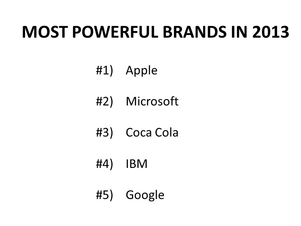 MOST POWERFUL BRANDS IN 2013 #1) Apple #2) Microsoft #3) Coca Cola #4) IBM #5) Google
