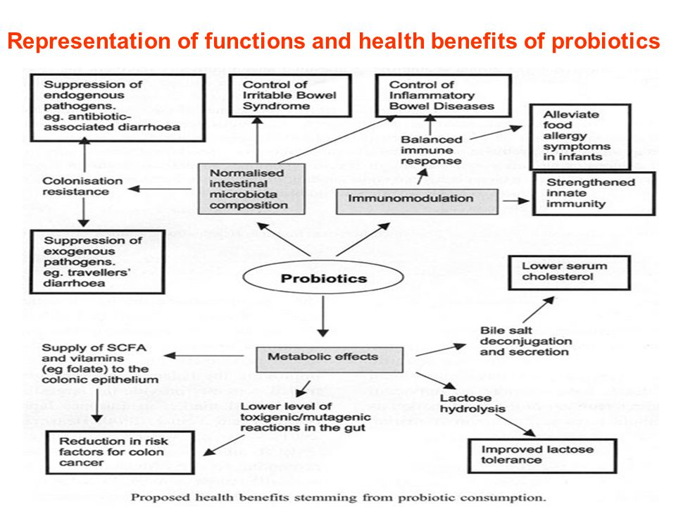 Representation of functions and health benefits of probiotics