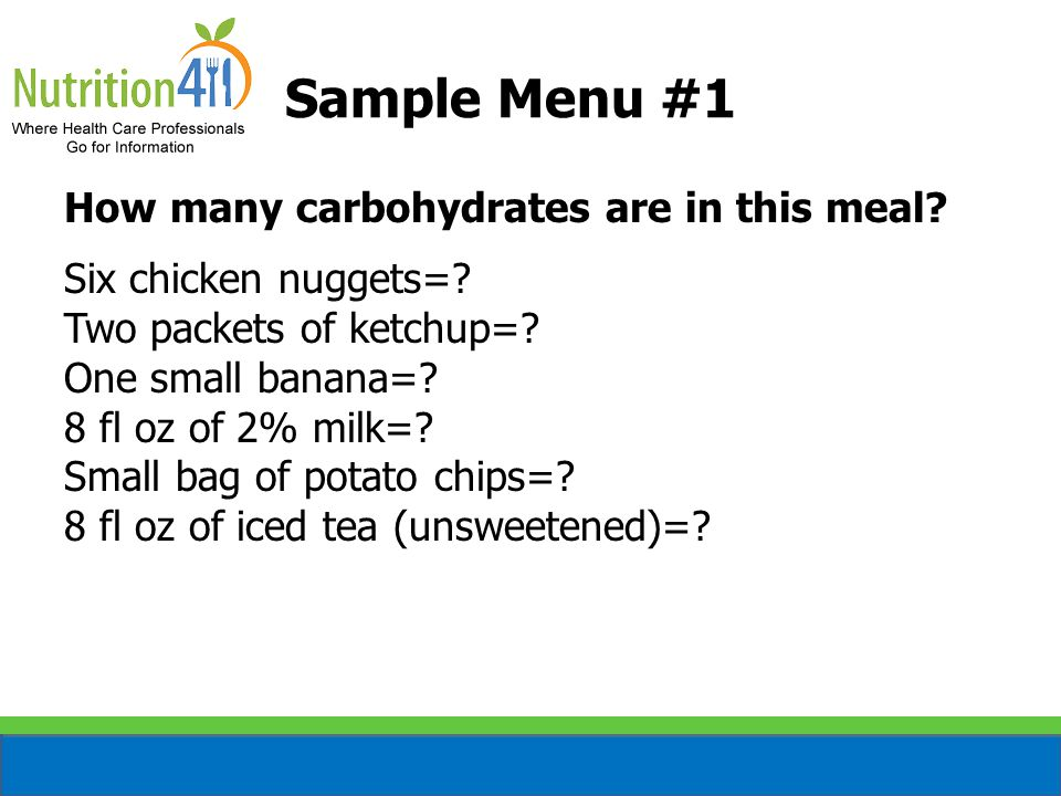 Sample Menu #1 How many carbohydrates are in this meal.