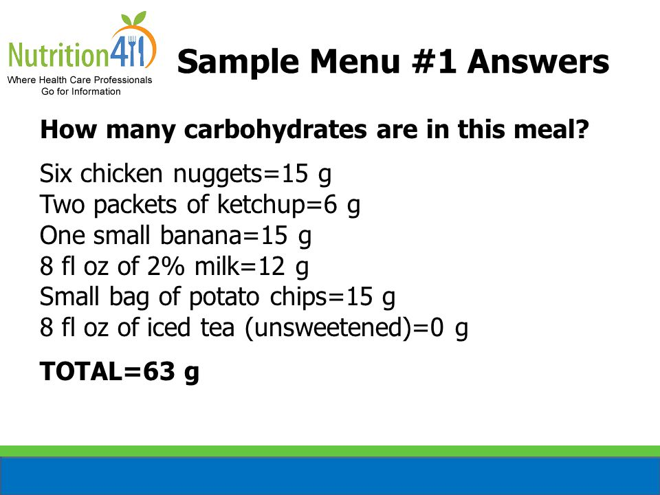 Sample Menu #1 Answers How many carbohydrates are in this meal? Six chicken nuggets=15 g Two packets of ketchup=6 g One small banana=15 g 8 fl oz of 2