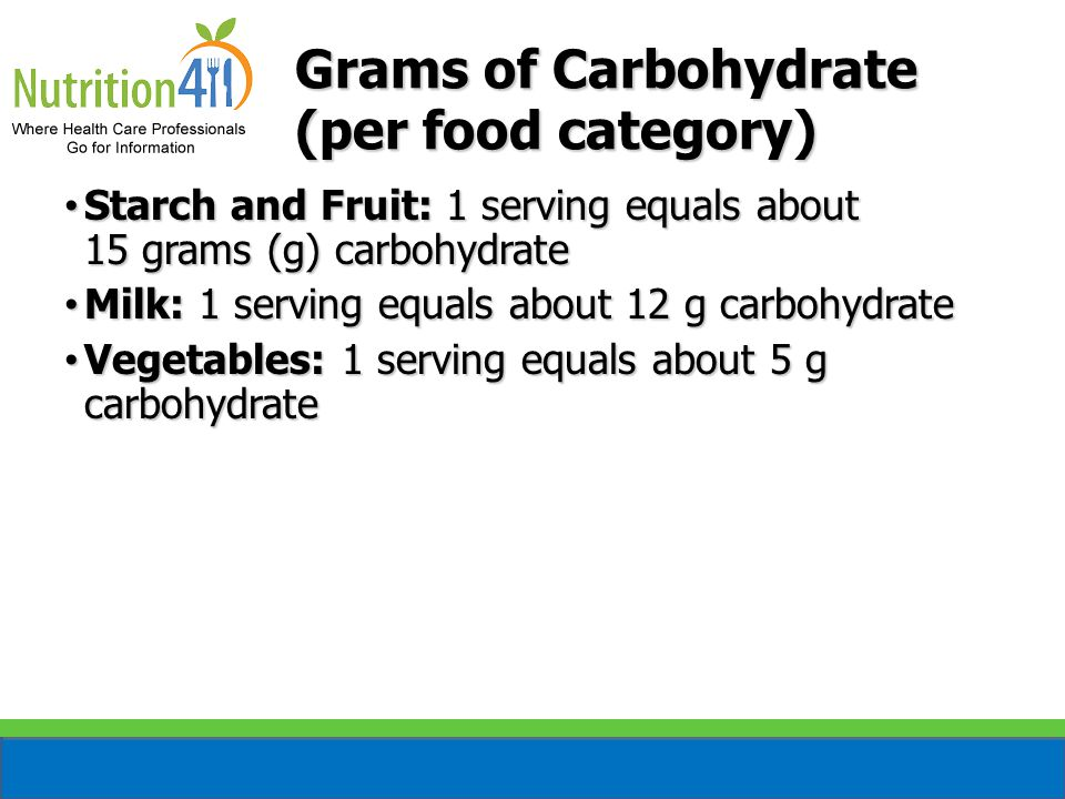 Grams of Carbohydrate (per food category) Starch and Fruit: 1 serving equals about 15 grams (g) carbohydrate Starch and Fruit: 1 serving equals about