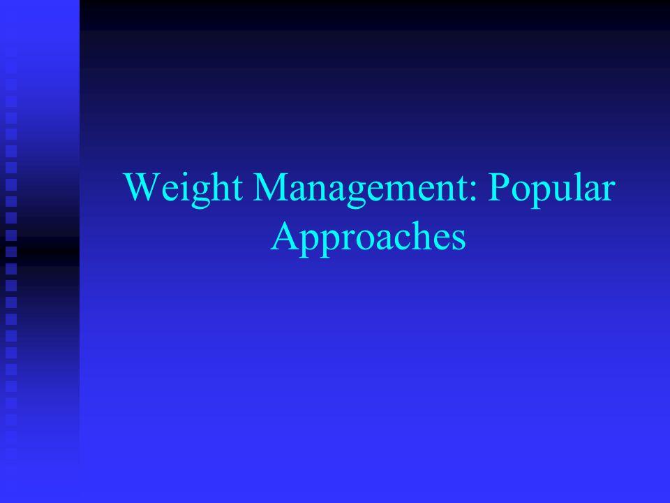 Weight Management: Popular Approaches