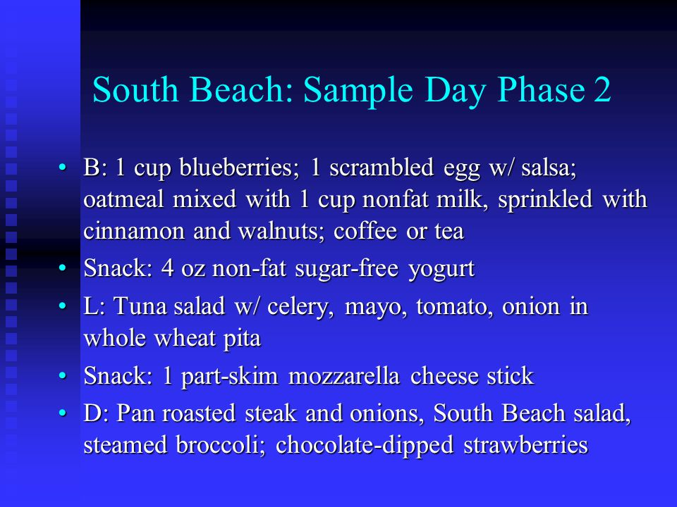 South Beach: Sample Day Phase 2 B: 1 cup blueberries; 1 scrambled egg w/ salsa; oatmeal mixed with 1 cup nonfat milk, sprinkled with cinnamon and walnuts; coffee or teaB: 1 cup blueberries; 1 scrambled egg w/ salsa; oatmeal mixed with 1 cup nonfat milk, sprinkled with cinnamon and walnuts; coffee or tea Snack: 4 oz non-fat sugar-free yogurtSnack: 4 oz non-fat sugar-free yogurt L: Tuna salad w/ celery, mayo, tomato, onion in whole wheat pitaL: Tuna salad w/ celery, mayo, tomato, onion in whole wheat pita Snack: 1 part-skim mozzarella cheese stickSnack: 1 part-skim mozzarella cheese stick D: Pan roasted steak and onions, South Beach salad, steamed broccoli; chocolate-dipped strawberriesD: Pan roasted steak and onions, South Beach salad, steamed broccoli; chocolate-dipped strawberries
