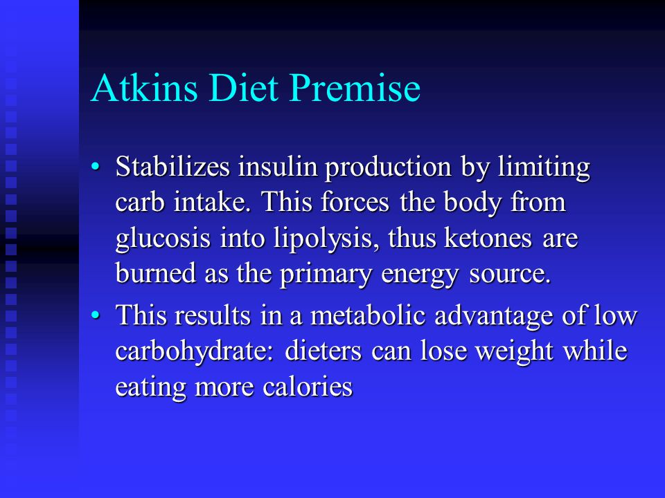 Atkins Diet Premise Stabilizes insulin production by limiting carb intake.