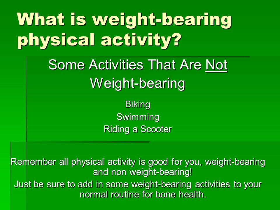 What is weight-bearing physical activity.